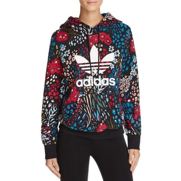 Adidas Trefoil Allover Floral Hoodie WANT! | Adidas hoodie